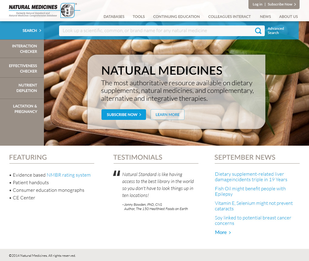 Natural Medicines home page