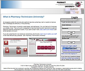 Login: Pharmacy Technicians University (version 1)